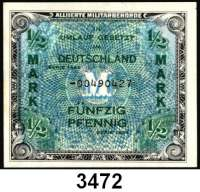 P A P I E R G E L D,A L L I I E R T E      B E S E T Z U N G 1/2 Mark 1944 US-Druck.  KN 8-stellig.  Austauschnote.  Ros. AMB-1 b.