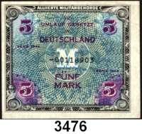 P A P I E R G E L D,A L L I I E R T E      B E S E T Z U N G 5 Mark 1944.  US-Druck.  KN 8-stellig.  Austauschnote.  Ros. AMB-3 b.