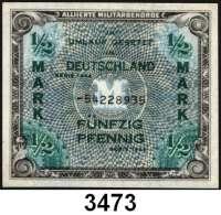 P A P I E R G E L D,A L L I I E R T E      B E S E T Z U N G 1/2 Mark 1944.  UdSSR-Druck.  KN 8-stellig.  Ros. AMB-1 c.