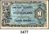 P A P I E R G E L D,A L L I I E R T E      B E S E T Z U N G 10 Mark 1944.  US-Druck.  KN 8-stellig.  Austauschnote.  Ros. AMB-4 b.