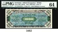 P A P I E R G E L D,A L L I I E R T E      B E S E T Z U N G 1000  Mark  1944.  Im PMG-Folder.  Mit Bewertung:  Choice Uncirculated.  Ros. AMB-8 a.