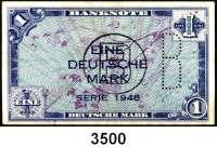P A P I E R G E L D,BUNDESREPUBLIK DEUTSCHLAND 1 Deutsche Mark 1948.  Mit B-Stempel und B-Perforation.  Ros. WBZ 14 c.
