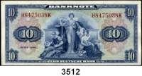 P A P I E R G E L D,BUNDESREPUBLIK DEUTSCHLAND 10 Deutsche Mark 1948.  H....K.  Ros. WBZ-5.