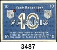 P A P I E R G E L D,Kleingeldscheine der Landesregierungen Baden - Staatsschuldenverwaltung5 und 10 Pfennig 1947.  Alle Varianten. Ros. FBZ-1 a, b.  FBZ-2 a, b, c, d.  LOT 11 Scheine.