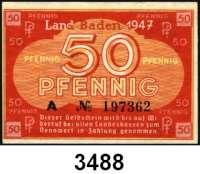 P A P I E R G E L D,Kleingeldscheine der Landesregierungen Baden - Staatsschuldenverwaltung50 Pfennig 1947.  Serie: A.  Ros. FBZ-3.