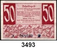 P A P I E R G E L D,Kleingeldscheine der Landesregierungen Württemberg-Hohenzollern - Finanzministerium5, 10 und 50 Pfennig 1947.  Alle Varianten.  Ros. FBZ-7 a, b, 8 a, b, 9(gebraucht).  LOT 11 Scheine.