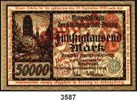 P A P I E R G E L D,D A N Z I G 1 Million Mark 8.8.1923.  Überdruck auf dem 50.000 Mark-Schein vom 20.3.1923.  Ros. DAN-24.