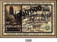 P A P I E R G E L D,D A N Z I G 1 Million Mark 8.8.1923.  Beidseitiger blauer Überdruck auf dem 50.000 Mark-Schein vom 20.3.1923.  Ros. DAN-25.