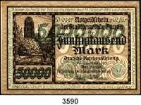 P A P I E R G E L D,D A N Z I G 5 Millionen Mark 8.8.1923.  Beidseitiger grüner Überdruck auf dem 50.000 Mark-Schein vom 20.3.1923.  Ros. DAN-27.