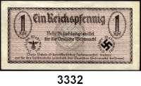 P A P I E R G E L D,Wehrmachtsausgaben des II. Weltkrieges Behelfszahlungsmittel für die Deutsche Wehrmacht1 Reichspfennig o.D.  Druckfarbe braun.  Ros. DWM-1.