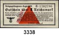 P A P I E R G E L D,Wehrmachtsausgaben des II. Weltkrieges Gutscheine der deutschen Kriegsgefangenenlager1 Reichsmark o.D.  Mit roten Stempel