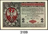 P A P I E R G E L D,Deutsche Besatzungsausgaben des Ersten Weltkrieges Rußland, Generalgouvernement Warschau 19171/2 (gebraucht) und 2 Mark (ksfr.) 9.12.1916.  Ros. EWK-15 a und 17 a.  LOT 2 Scheine.