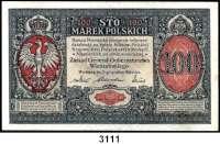 P A P I E R G E L D,Deutsche Besatzungsausgaben des Ersten Weltkrieges Rußland, Generalgouvernement Warschau 19171/2 bis 100(fast kassenfrisch) Mark 9.12.1916.  Ohne 20 Mark.  Ros. EWK-25, 26, 27 b, 28 b, 29, 31.  LOT 6 Scheine.