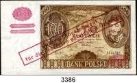 P A P I E R G E L D,Besatzungsausgaben des II. Weltkrieges Generalgouvernement Polen100 Zloty 9.11.1934 (Ausgabe Februar 1940).  Serie BY.  Ros. ZWK-025.   Aufdruck ohne OBLIGO(!)