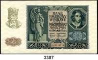 P A P I E R G E L D,Besatzungsausgaben des II. Weltkrieges Generalgouvernement Polen1 Zloty bis 500 Zloty 1.3.1940.  Ros. ZWK-26, 27, 28, 29 a, b, 30, 31, 32, 33.  LOT 9 Scheine
