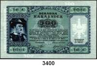 P A P I E R G E L D,Besatzungsausgaben des II. Weltkrieges Sparkasse der Provinz Laibach 1944500 Lire 14.9.1944.  Serie A.   Ros. ZWK-72.