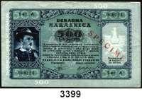 P A P I E R G E L D,Besatzungsausgaben des II. Weltkrieges Sparkasse der Provinz Laibach 1944500 Lire Serie A.  Mit beidseitigem roten Aufdruck