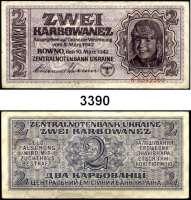 P A P I E R G E L D,Besatzungsausgaben des II. Weltkrieges Zentralnotenbank Ukraine 19422 Karbowanez  10.3.1942.  1stellige Seriennummer vor der KN.  Sehr selten.