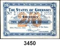 P A P I E R G E L D,Besetzung der Britischen Kanalinseln 1940-1944 Guernsey 1941 - 19432 Shillings/6 Pence 25.3.1941. KN 4-stellig.  Ros. ZWK-80.