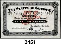 P A P I E R G E L D,Besetzung der Britischen Kanalinseln 1940-1944 Guernsey 1941 - 19435 Shillings 25.3.1941. KN 4-stellig.  Ros. ZWK-81.