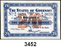 P A P I E R G E L D,Besetzung der Britischen Kanalinseln 1940-1944 Guernsey 1941 - 19432 Shillings/6 Pence 17.5.1941. KN 4-stellig.  Ros. ZWK-82.