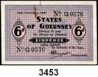 P A P I E R G E L D,Besetzung der Britischen Kanalinseln 1940-1944 Guernsey 1941 - 19436 Pence 16.10.1941. KN 4-stellig.  Ros. ZWK-84.