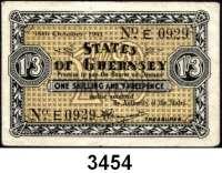P A P I E R G E L D,Besetzung der Britischen Kanalinseln 1940-1944 Guernsey 1941 - 19431 Shilling/3 Pence  16.10.1941.  KN 4-stellig.  Ros. ZWK-85.