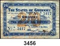 P A P I E R G E L D,Besetzung der Britischen Kanalinseln 1940-1944 Guernsey 1941 - 19432 Shillings/6 Pence 1.1.1942.  KN 4-stellig.  Ros. ZWK-88.