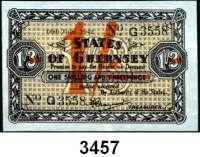 P A P I E R G E L D,Besetzung der Britischen Kanalinseln 1940-1944 Guernsey 1941 - 19431 Shilling 18.7.1942.  KN 4-stellig.  Überdruck (orange) auf 1 Shilling/3 Pence.  Ros. ZWK-91.