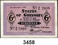 P A P I E R G E L D,Besetzung der Britischen Kanalinseln 1940-1944 Guernsey 1941 - 19436 Pence 1.1.1943.  KN 4-stellig.  Ros. ZWK-92.