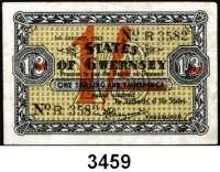 P A P I E R G E L D,Besetzung der Britischen Kanalinseln 1940-1944 Guernsey 1941 - 19431 Shilling 1.1.1943.  KN 4-stellig.  Überdruck (orange) auf 1 Shilling/3 Pence.  Ros. ZWK-94.