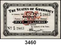 P A P I E R G E L D,Besetzung der Britischen Kanalinseln 1940-1944 Guernsey 1941 - 19435 Shillings 1.1.1943.  KN 4-stellig.  Ros. ZWK-96.