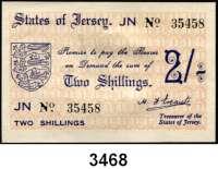 P A P I E R G E L D,Besetzung der Britischen Kanalinseln 1940-1944 Jersey 1941/19422 Shillings o.D.  KN 5-stellig.  Ros. ZWK-102 e.
