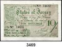 P A P I E R G E L D,Besetzung der Britischen Kanalinseln 1940-1944 Jersey 1941/194210 Shillings o.D.  KN 5-stellig.  Ros. ZWK-103 e.
