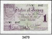 P A P I E R G E L D,Besetzung der Britischen Kanalinseln 1940-1944 Jersey 1941/19421 Pfund o.D.  KN 4-stellig.  Ros. ZWK-104 d.