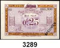 P A P I E R G E L D,Franz.-Belg.Eisenbahnverwaltung im besetzten Rheinland 1923 4x 0,25 Franc o.D.  Serie A7, B8, B21, 00 mit vorderseitigem Überdruck