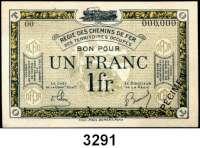 P A P I E R G E L D,Franz.-Belg.Eisenbahnverwaltung im besetzten Rheinland 1923 2x 1 Franc o.D.  Serie B21 und 00 mit vorderseitigem Überdruck
