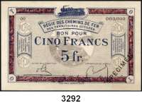 P A P I E R G E L D,Franz.-Belg.Eisenbahnverwaltung im besetzten Rheinland 1923 5 Franc o.D.  Serie 00 mit vorderseitigem Überdruck