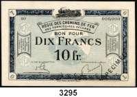 P A P I E R G E L D,Franz.-Belg.Eisenbahnverwaltung im besetzten Rheinland 1923 10 Franc o.D.  Serie 00 mit vorderseitigem Überdruck