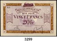 P A P I E R G E L D,Franz.-Belg.Eisenbahnverwaltung im besetzten Rheinland 1923 20 Franc o.D.  Serie: B6.  Ros. RPR-63.