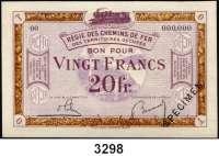 P A P I E R G E L D,Franz.-Belg.Eisenbahnverwaltung im besetzten Rheinland 1923 20 Franc o.D.  Serie 00.  Mit vorderseitigem Aufdruck