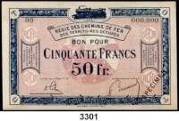 P A P I E R G E L D,Franz.-Belg.Eisenbahnverwaltung im besetzten Rheinland 1923 50 Franc o.D.  Serie 00.  Mit vorderseitigem Aufdruck
