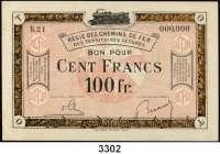 P A P I E R G E L D,Franz.-Belg.Eisenbahnverwaltung im besetzten Rheinland 1923 100 Franc o.D.  Serie 00.  Mit vorderseitigem Aufdruck