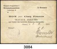 P A P I E R G E L D,B E S A T Z U N G S A U S G A B E N     I. W E L T K R I E G Militärausgaben in FrankreichEtappen-Inspektion I (1.Armee).  5 Francs 1.6.1915.  Stempel der BAUDIREKTION DER I. ARMEE.  Ros. EWK-52 k.