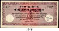 P A P I E R G E L D,Steuergutscheine Steuergutschein I100  Reichsmark 24.3.1939.  Einlösbar ab Dezember 1939.  Mit Stempel I./Flak-Regt. 24 Gr.Verwaltung.  Ros. DEU-240 a.