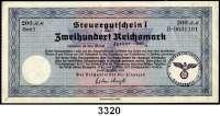 P A P I E R G E L D,Steuergutscheine Steuergutschein I200  Reichsmark 24.3.1939.  Einlösbar ab Januar 1940.  Mit Stempel Reichsbahndirektion Köln Hauptkasse.  Ros. DEU-241 b.