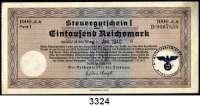 P A P I E R G E L D,Steuergutscheine Steuergutschein I1000  Reichsmark 24.3.1939.  Einlösbar ab Januar 1940.  Mit Stempel Reichsluftfahrtministerium Verwaltungsamt.  Ros. DEU-243 b.