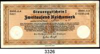 P A P I E R G E L D,Steuergutscheine Steuergutschein I2000  Reichsmark 24.3.1939.  Einlösbar ab Mai 1940.  Rückseitig gestempelt