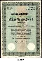 P A P I E R G E L D,Steuergutscheine Steuergutschein II500 Reichsmark 24.3.1939.  Einlösbar ab August 1942.  Ros. DEU-249 i.