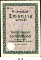 P A P I E R G E L D,Steuergutscheine Steuergutschein 193720 Reichsmark 11.12.1937.  Einlösbar ab 1.4.1945.
